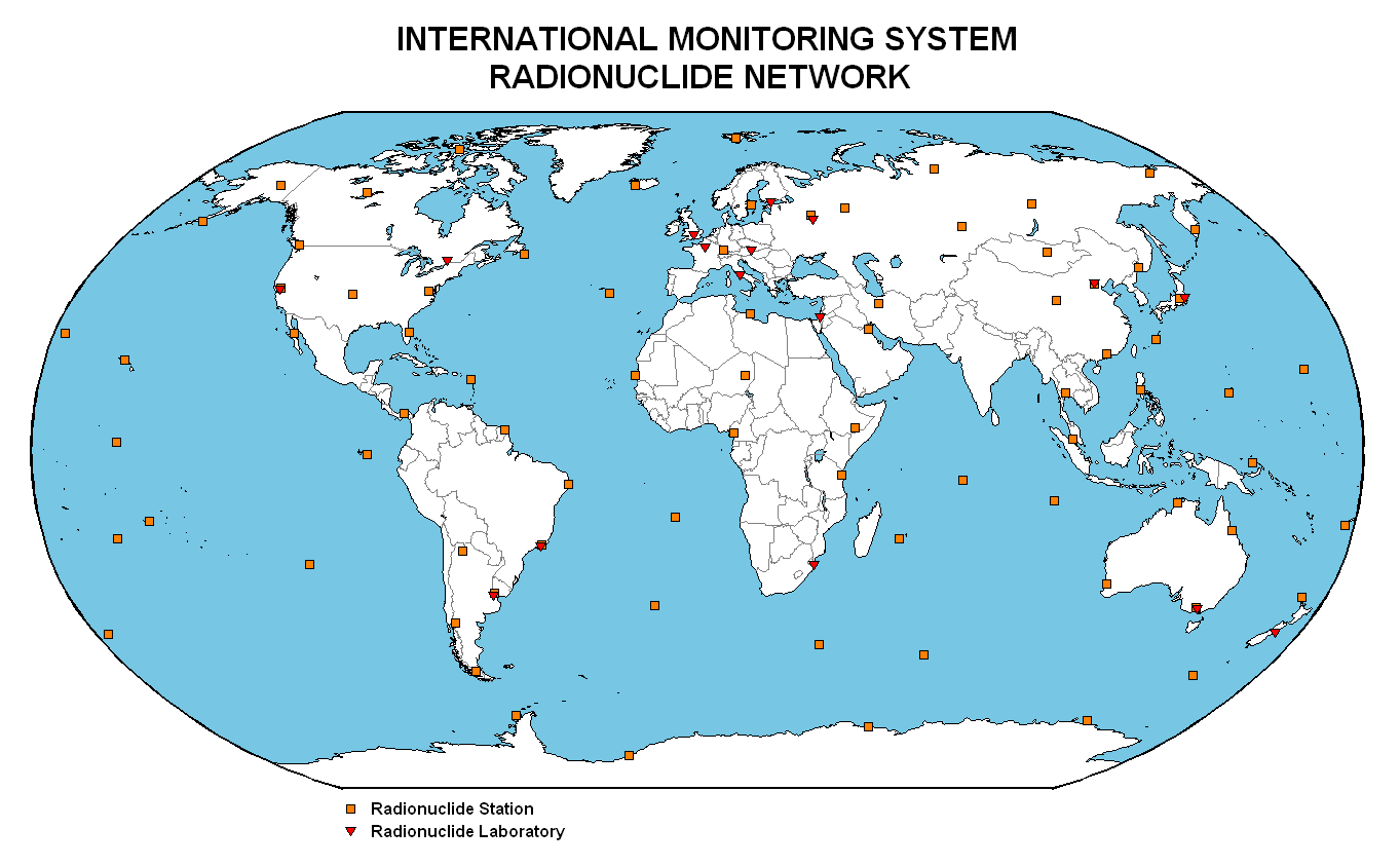 World-wide distribution of the SSI radionuclide network
